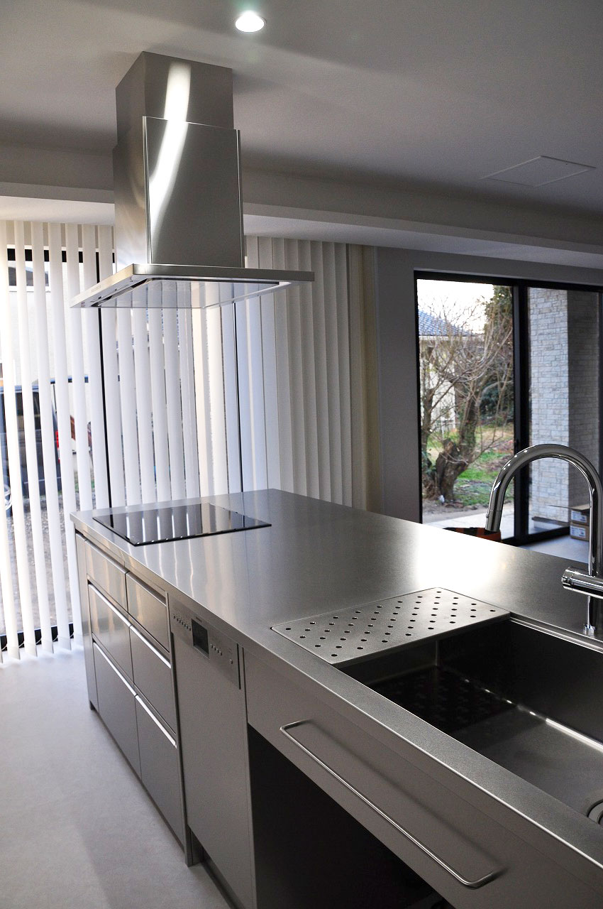 ステンレスオーダーキッチン チェリー無垢&壁面ステンテスボード 765イメージ-2