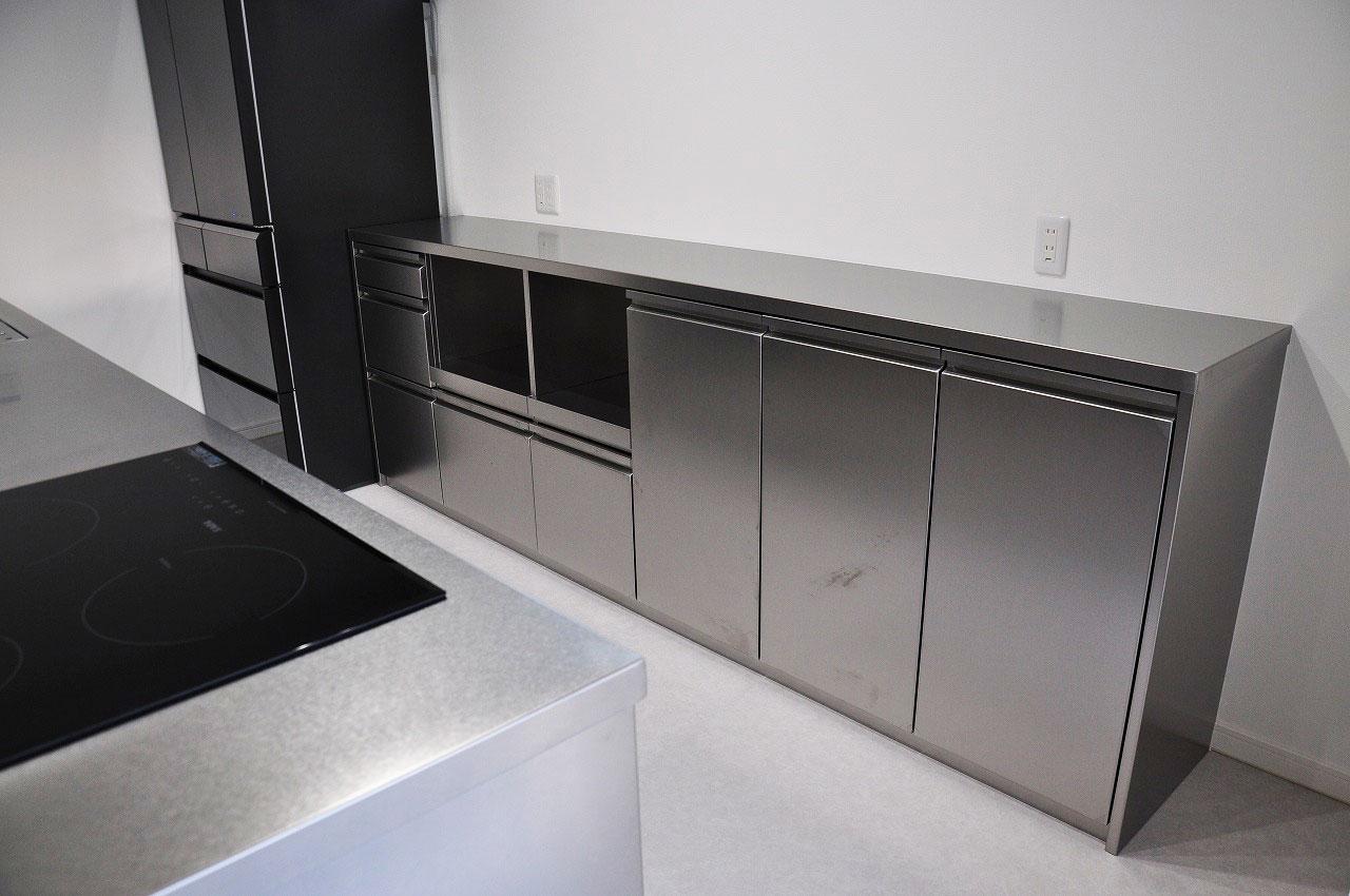 ステンレスオーダーキッチン チェリー無垢&壁面ステンテスボード 765イメージ-10