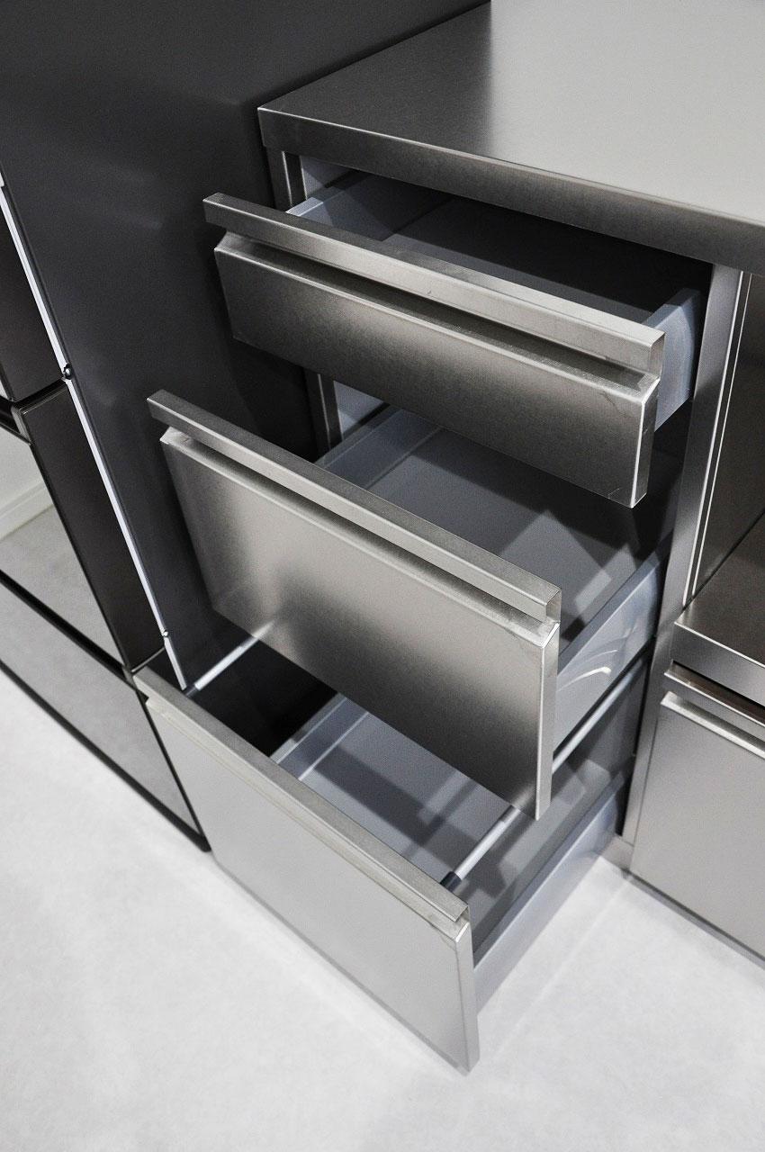 ステンレスオーダーキッチン チェリー無垢&壁面ステンテスボード 765イメージ-11