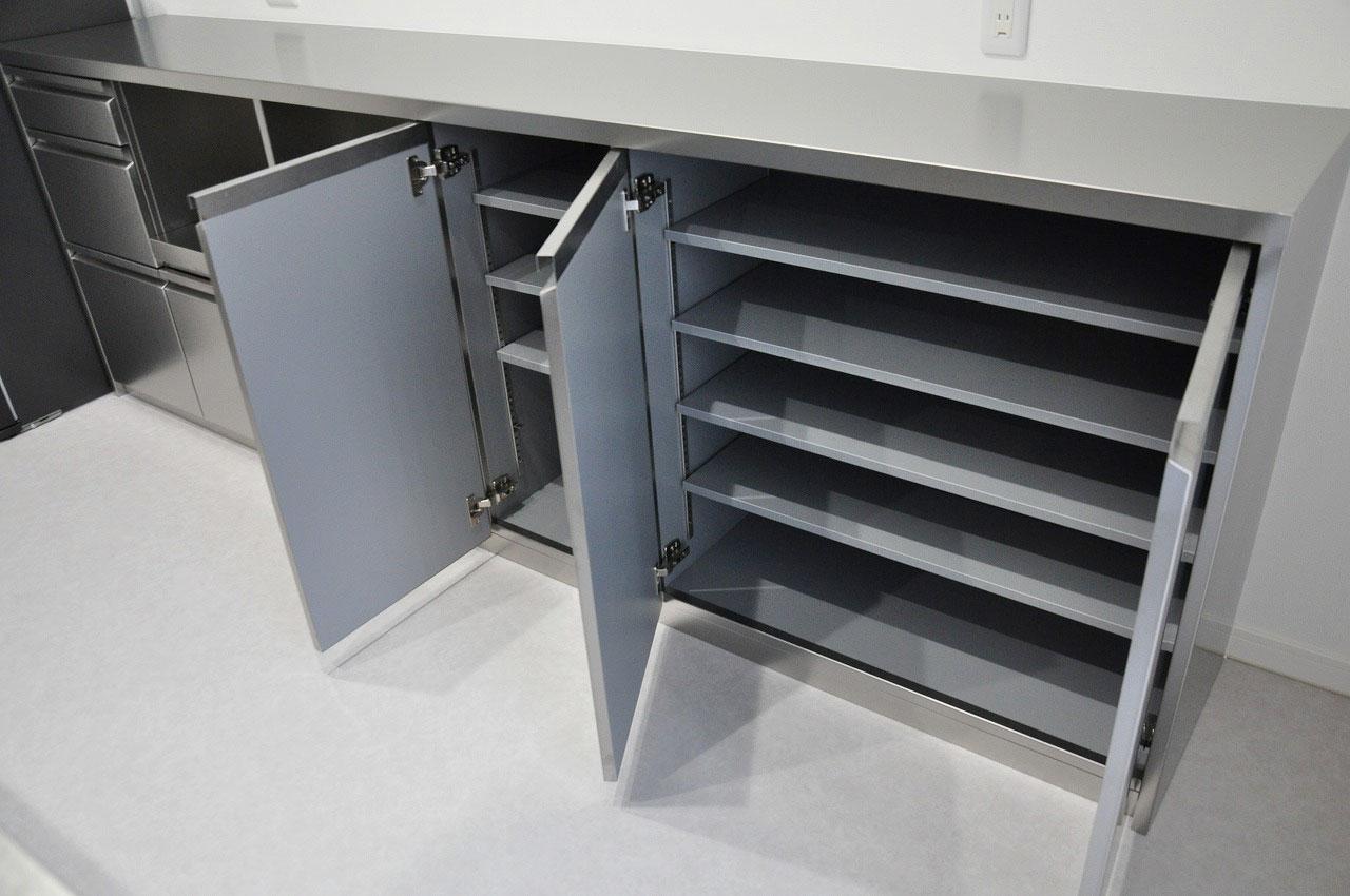 ステンレスオーダーキッチン チェリー無垢&壁面ステンテスボード 765イメージ-15