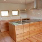 オーダーキッチン チェリーの無垢天板キッチン収納カウンター 740
