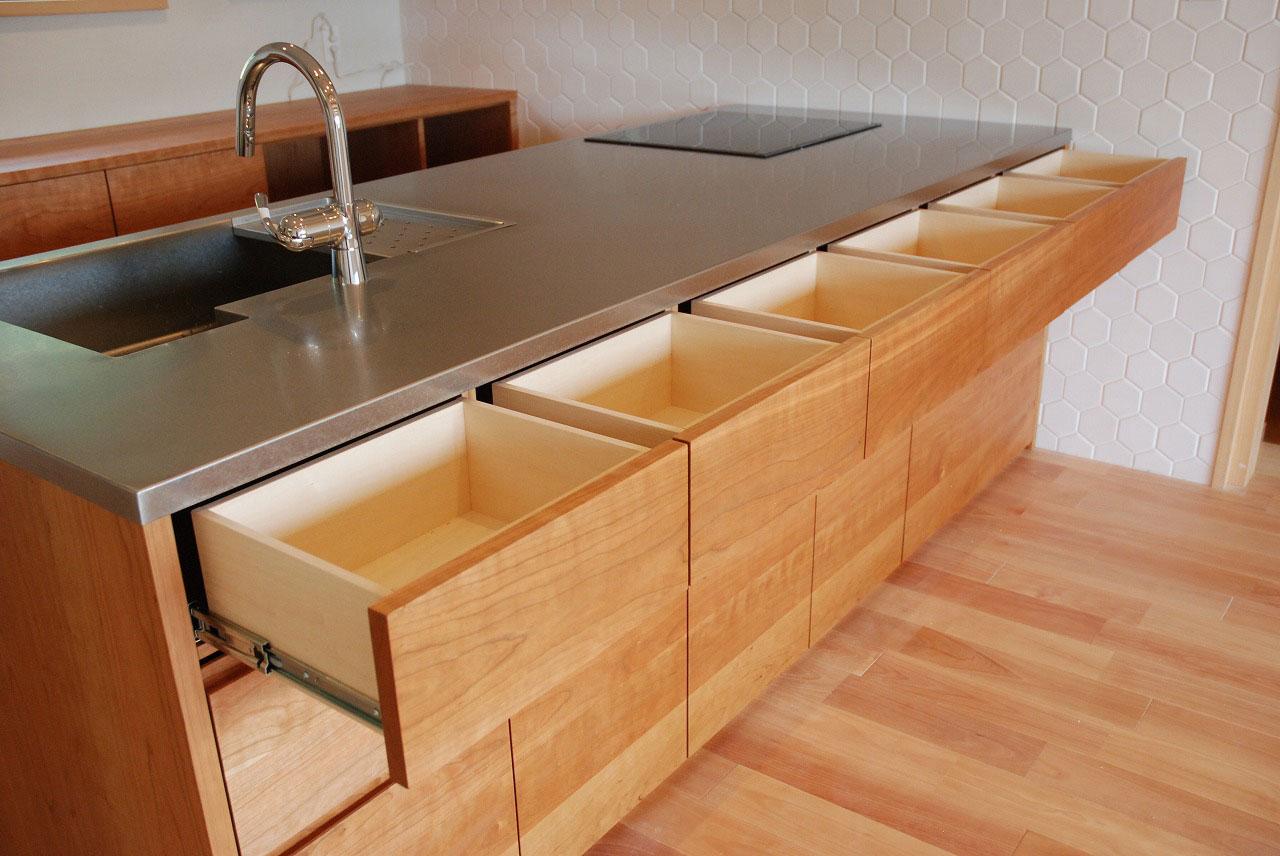 オーダーキッチン チェリーの無垢天板キッチン収納カウンター 740イメージ-4