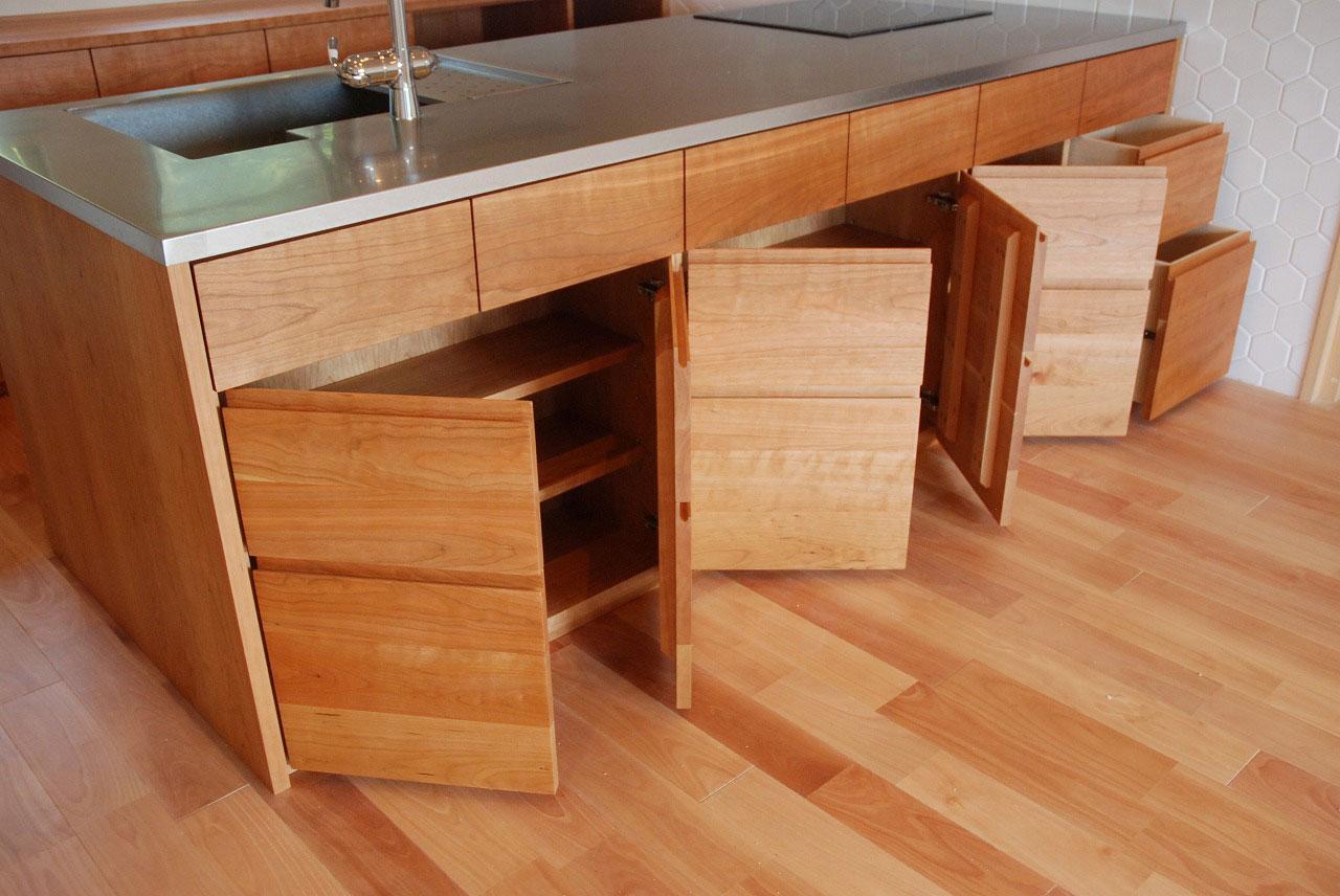 オーダーキッチン チェリーの無垢天板キッチン収納カウンター 740イメージ-5