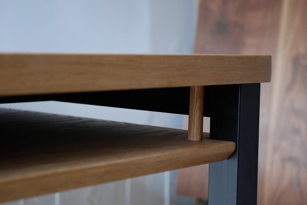 テーブル天板の角を丸くした棚付きダイニングテーブル 3039イメージ-5