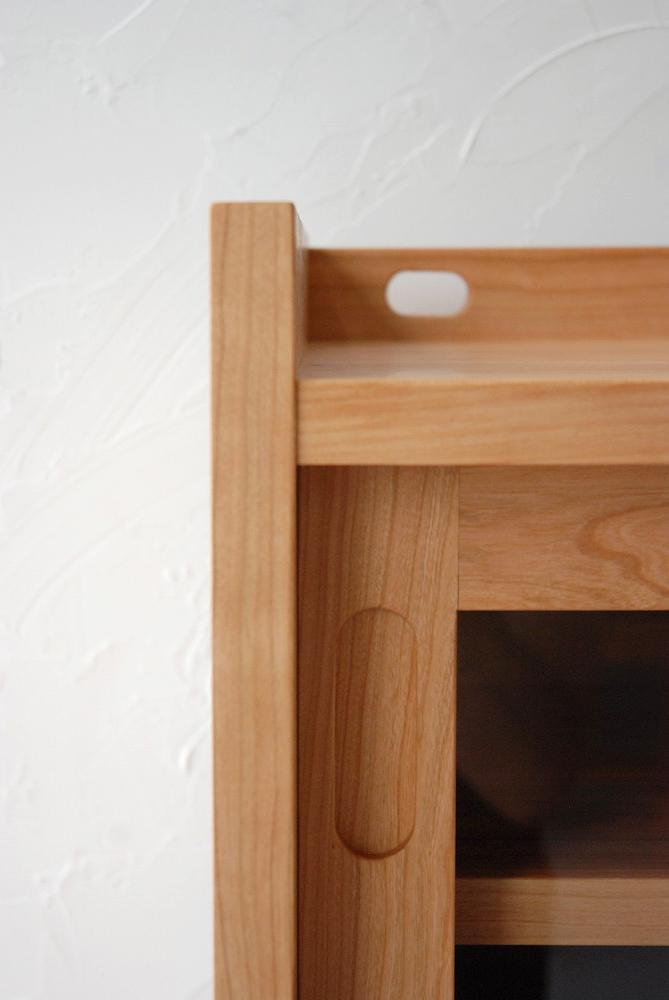 ガラスと無垢板の引き違い戸と引出しの電話台キャビネット no.5066イメージ-7