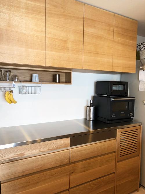炊飯器を隠す収納のある吊戸棚と食器棚 5068