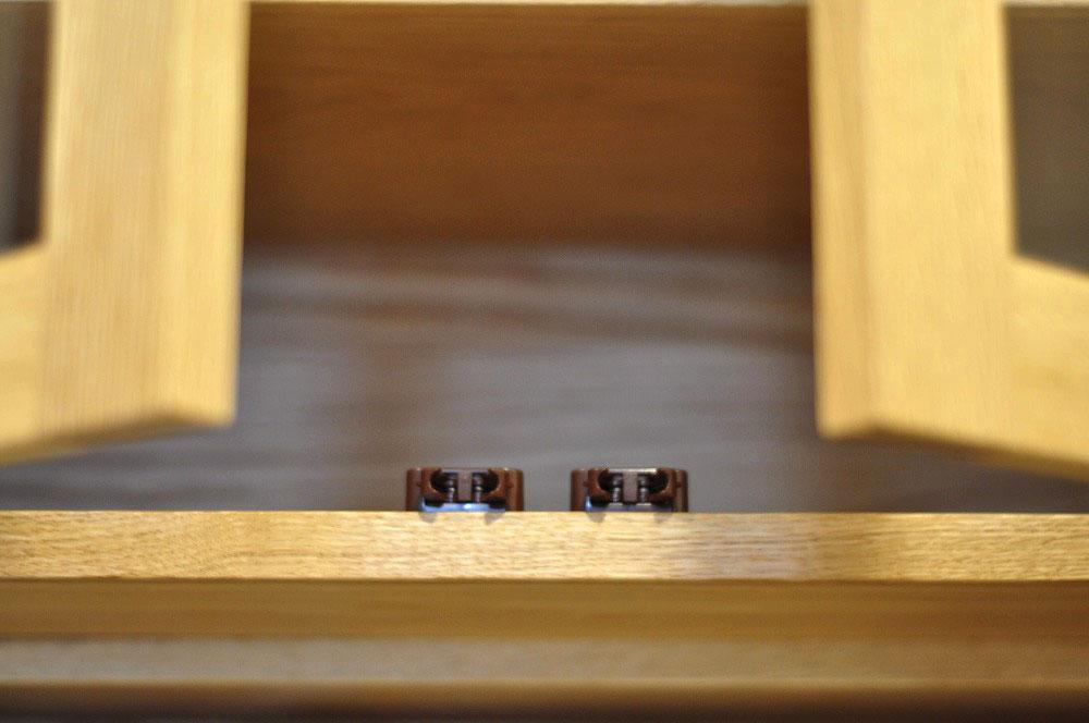 背の高いカップボード ガラスと格子ルーバーの扉 ステンレスオープン棚もつけて 5073イメージ-4