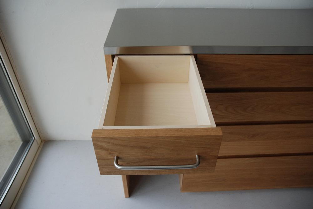 ゴミ箱スペースがある4段の引き出し食器棚 5074イメージ-3