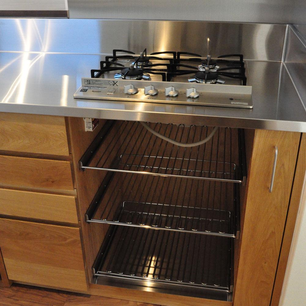 フレームキッチンに食洗機と引出し4段と調味料ワイヤーラックを追加。5077イメージ-7