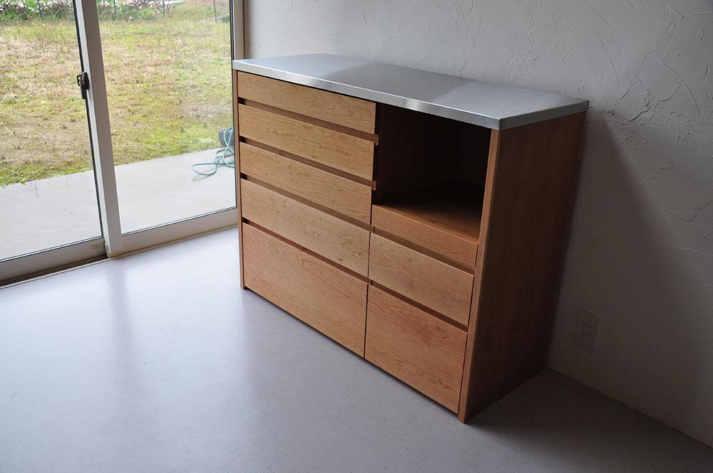5段引出しと炊飯器置き場スライド引き出し棚のある背が高めのキッチンボード 5080イメージ-2