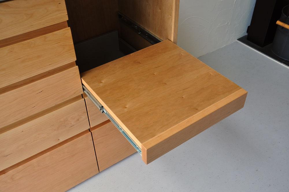 5段引出しと炊飯器置き場スライド引き出し棚のある背が高めのキッチンボード 5080イメージ-6