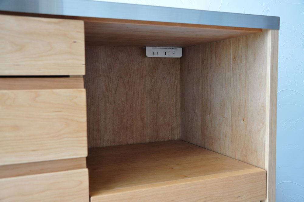 5段引出しと炊飯器置き場スライド引き出し棚のある背が高めのキッチンボード 5080イメージ-7