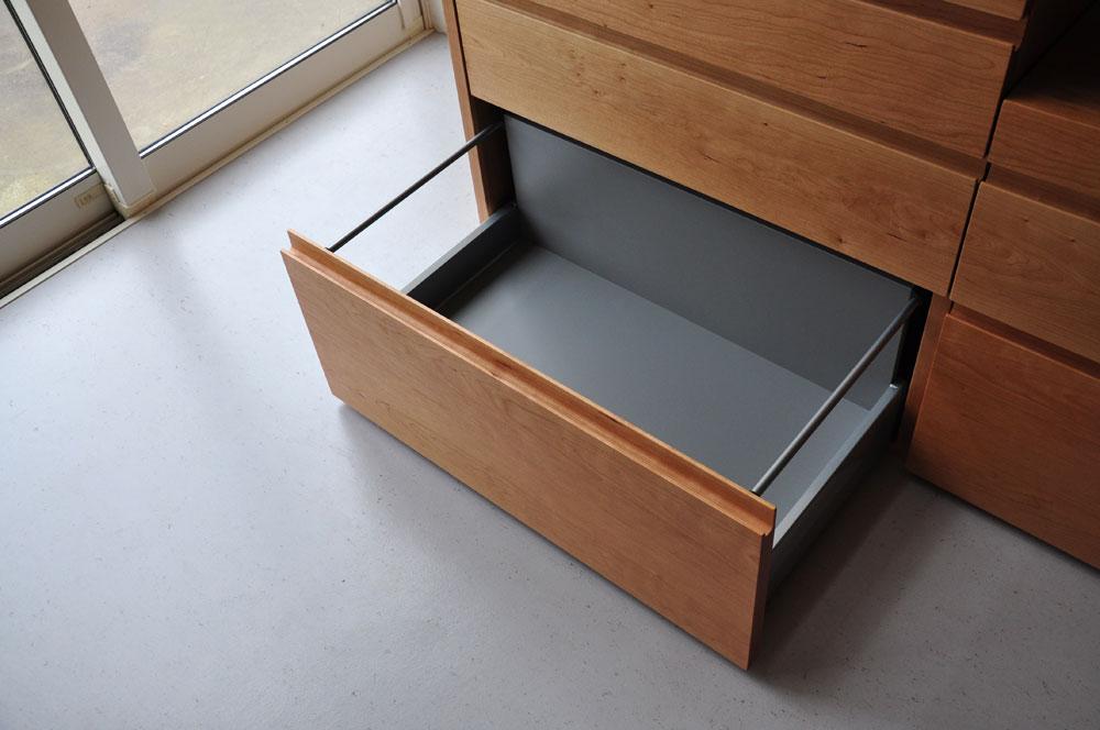 5段引出しと炊飯器置き場スライド引き出し棚のある背が高めのキッチンボード 5080イメージ-5