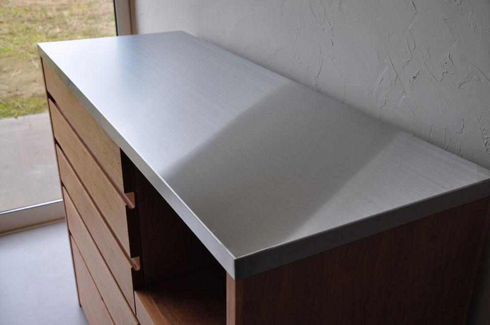 5段引出しと炊飯器置き場スライド引き出し棚のある背が高めのキッチンボード 5080イメージ-3