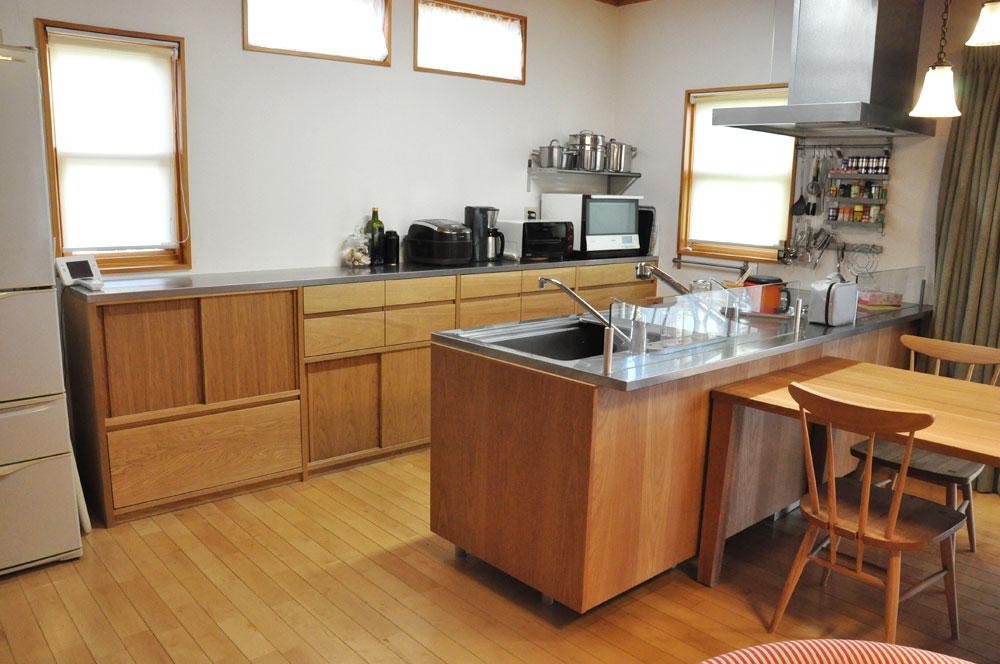 システムキッチンのパネル交換としてのオーク材パネル上張り 5084イメージ-6