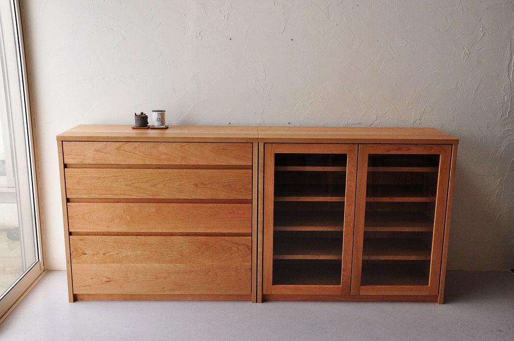 引出しチェストとガラス扉の食器棚を分割して使えるように製作 no.5087