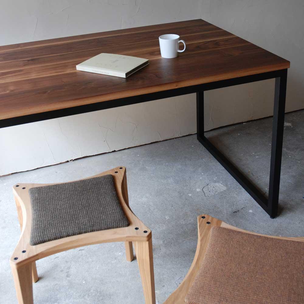 無垢材天板とアイアンのダイニング/ミーティングテーブル 3014